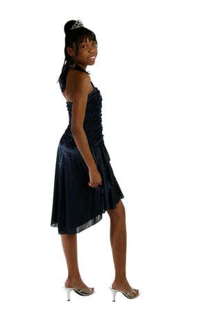 Beautiful African Amercian 15 year old Teen Girl in formal dress and tiara.