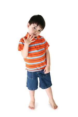 four hands: Adorable toddler boy holding up five fingers.  Barefoot over white. Stock Photo