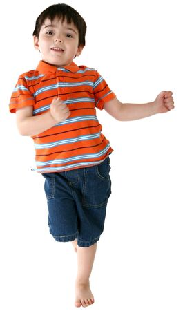 boy barefoot: Four year old boy dancing over white.