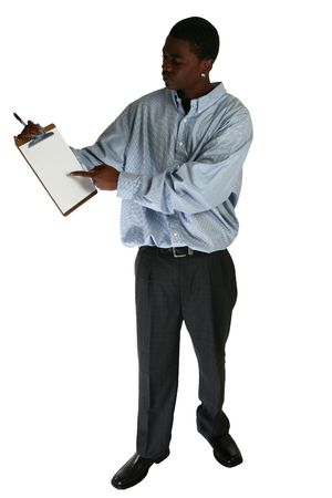 eighteen: Eighteen year old African Amercian male pointing to clipboard.