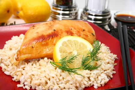 protien: Lemonade Chicken and brown rice with lemon slice and dill.