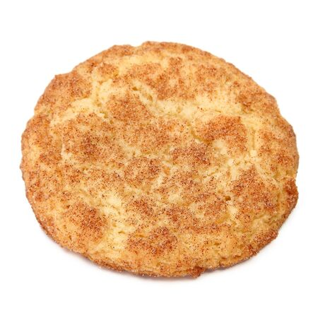 Top side of a snickerdoodle over white.