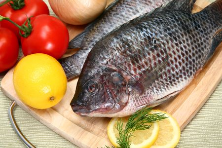 Fresh Ttilapia with tomato, lemon, dill on cutting board.  St. Peter's fish. Standard-Bild