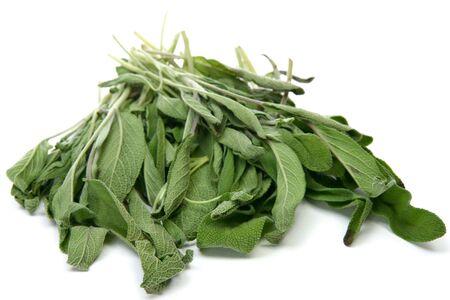 Fresh bundle of sage over white background. Zdjęcie Seryjne