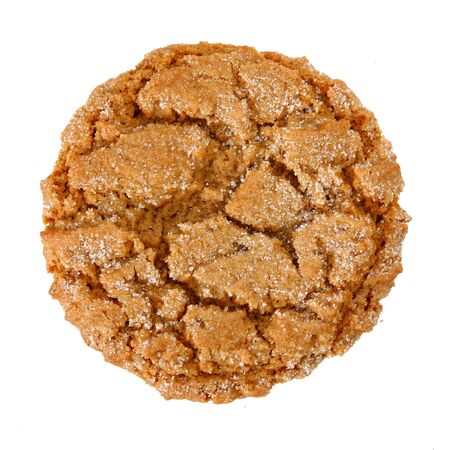 chewy: Stack of chewy ginger cookie over white.