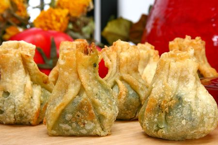 Close up spinach wrap appetizer up close in kitchen or restaurant. Stock Photo - 2951057