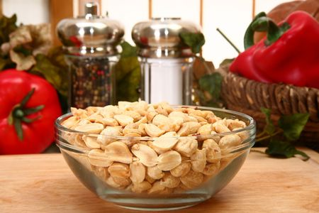 Unsalted dry roasted peanuts in a bowl
