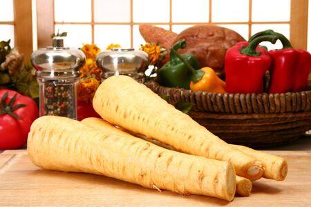 Fresh parsnips in kitchen or restaurant.