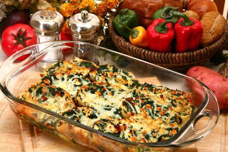 Spinach Feta Strata in kitchen or restaurant.