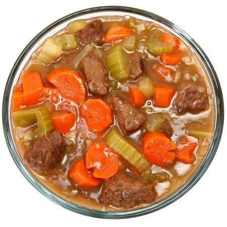 Beef vegetable stew over white background. Standard-Bild
