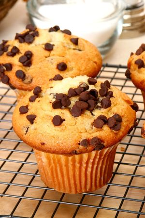 Chcocolate chip muffins in kitchen or restaurant or bakery. Stock Photo - 3189859