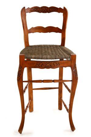 wicker bar: Wicker bar stool chair over white background.