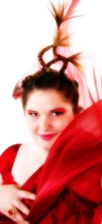 Beautiful young woman in artistic makeup.