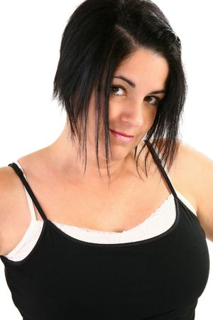 40 year old: Close up of attractive 40 year old brunette woman. Stock Photo