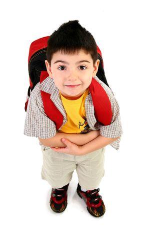 ni�os contentos: Adorable 5 a�os de edad, muchacho listo para su primer d�a de escuela.  Foto de archivo