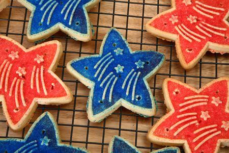 forth: Red and blue forth of july sugar cookies.