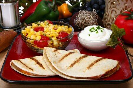 chicken quesadilla in kitchen or restaurant. Imagens - 3518437