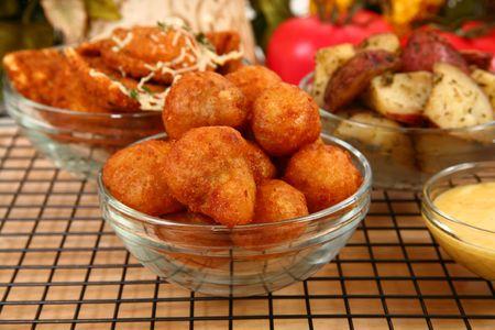 Italian fried stuffed mushrooms in kitchen or restaurant. Reklamní fotografie