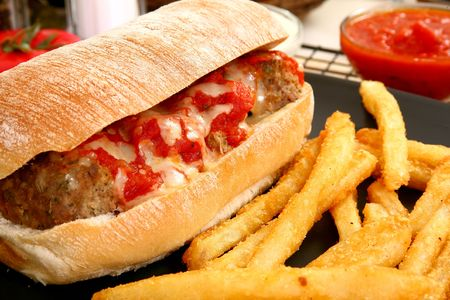 Meatball Sub and Fries