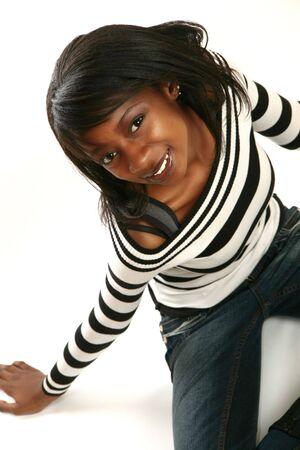 Beautiful African American woman smiling Stock Photo - 3571486