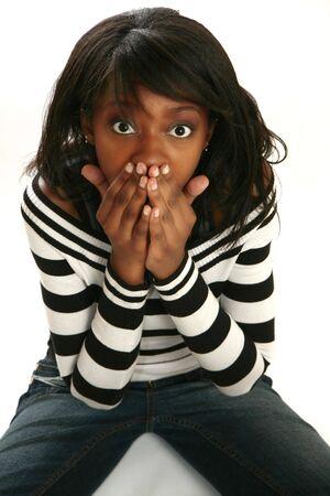 Beautiful 20 something woman shocked expression Stock Photo - 3571487