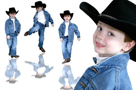 Collage of a four year old boyin denim and a black cowboy hat over white.