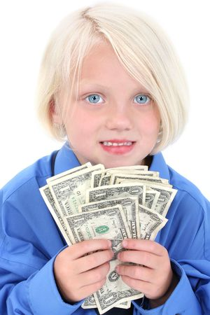 Beautiful young girl wearing large man's shirt with a handful of money. Shot in studio over white with the Canon 20D.