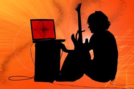 Teen boy with guitar, amp, computer.