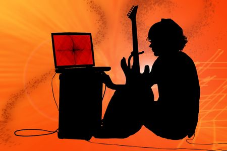amp: Teen boy with guitar, amp, computer.