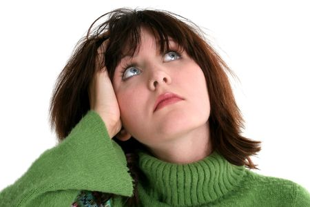 Close Up of Beautiful Teen Girl In Green Sweater. Dark hair and blue eyes. Shot in studio over white. Stock Photo - 3741226