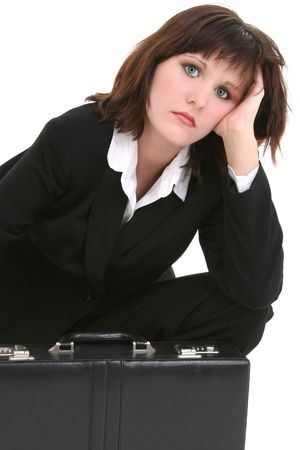 nosering: Tired business woman with briefcase. Shot in studio over white.
