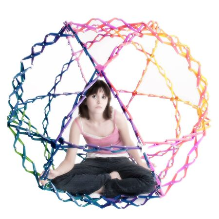 collapsible: Beatiful teen girl inside collapsible rainbow colored ball.