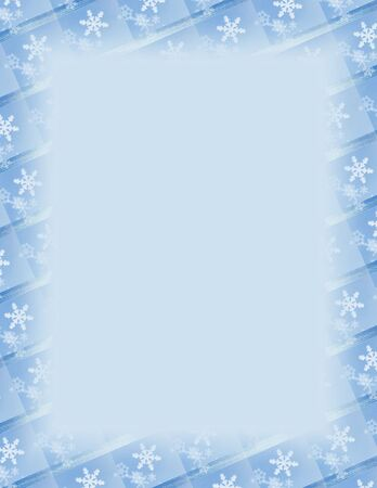 winter: Blue and white border over blue. Snowflake theme.