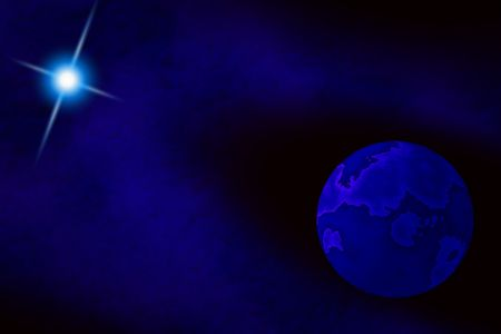 Galactic view of deep blue moon and star. Фото со стока