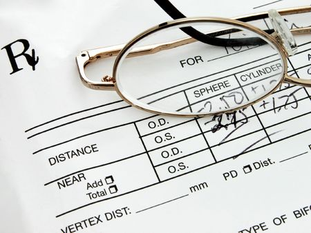 Eyeglass Prescription Stock Photo