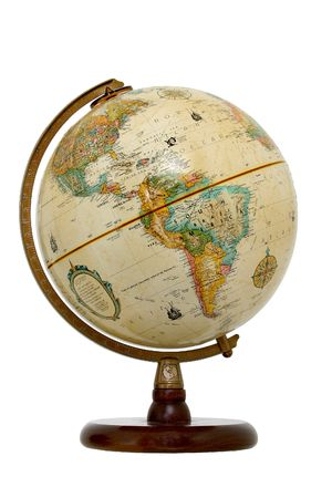 Small globe on wooden stand.  Facing South America, Bolivia, Peru, Ecuador, Atlantic, America, Mexico, Costa Rica, Brazil, Bolivia, Venezuela, Columbia,