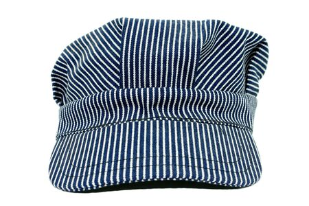 파란색과 흰색 줄무늬 지휘자 모자입니다. 익숙한.