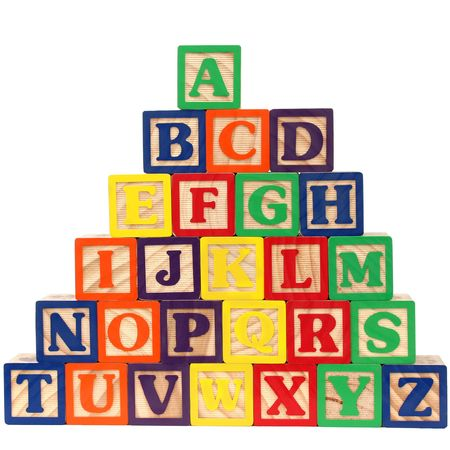 Close-up of ABC blocks A-Z on white background. photo