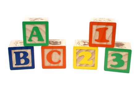 Colorful childrens blocks over white. ABC and 123.