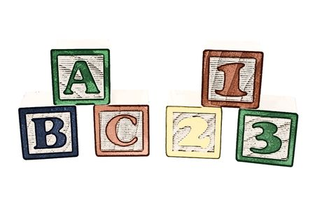 Illustration of colorful childrens blocks over white. ABC and 123 illustration