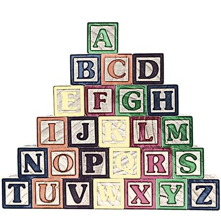 Illustration of a stack of ABC blocks A-Z on white background. illustration