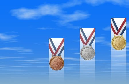 Gold, silver, bronze medals with red white blue ribbon against clouded background.