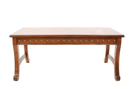 Wooden coffee table over white. Imagens