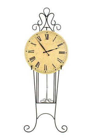 home accents: Large clock on pedestal against white background.  Shot in studio.