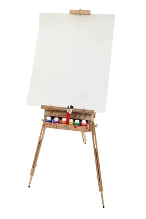 School art easel, washable paints and brushes.  Blank poster board canvas for adding text.  Shot in studio over white. Stock Photo
