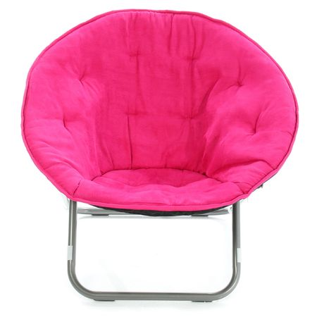 moveable: Individual hot pink fuzzy fabric foldout chair over white background.   Stock Photo
