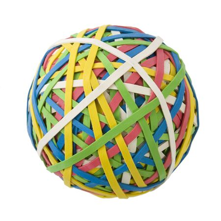 Large colorful rubberband ball over white background. Imagens