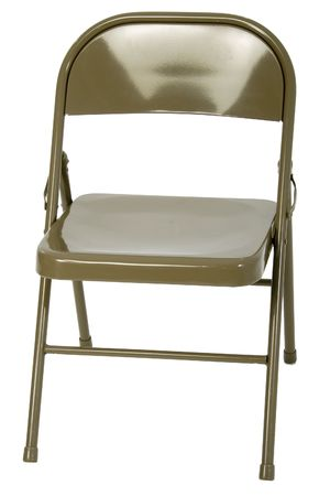 Metal folding chair over white. photo