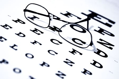 Focus on letters I and C.  Eye chart and glasses. Imagens - 3745703