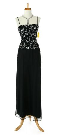 shoppe: Tripod mannequin with formal dress.  Black and sequins.